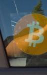 Bitcoin Window Vinyl Installed on a window